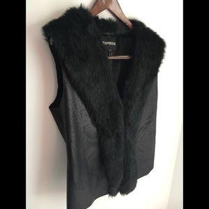Fur & faux leather vest